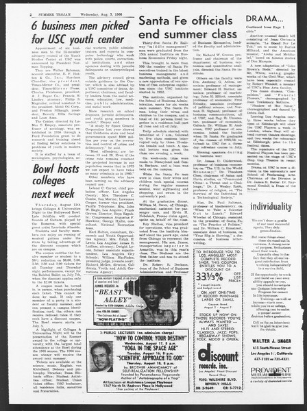 Summer Trojan, Vol. 17, No. 12, August 03, 1966