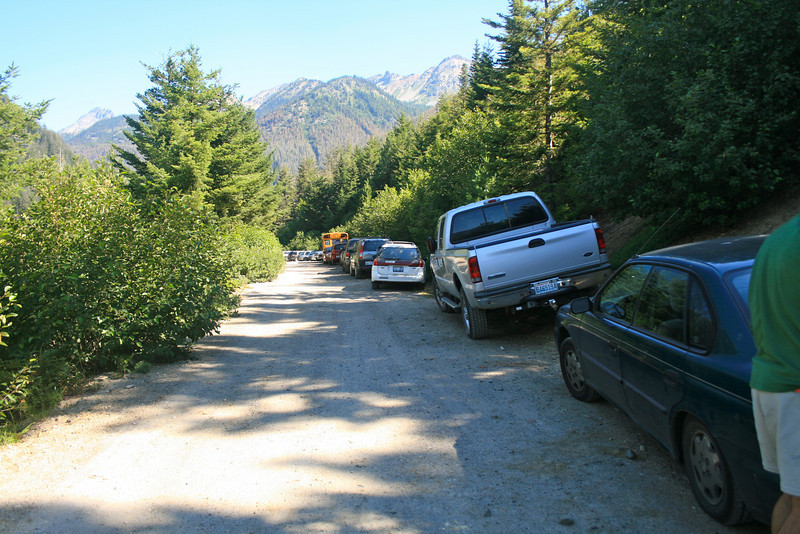 At the trailhead. So many freakin' cars. There is even a school bus!