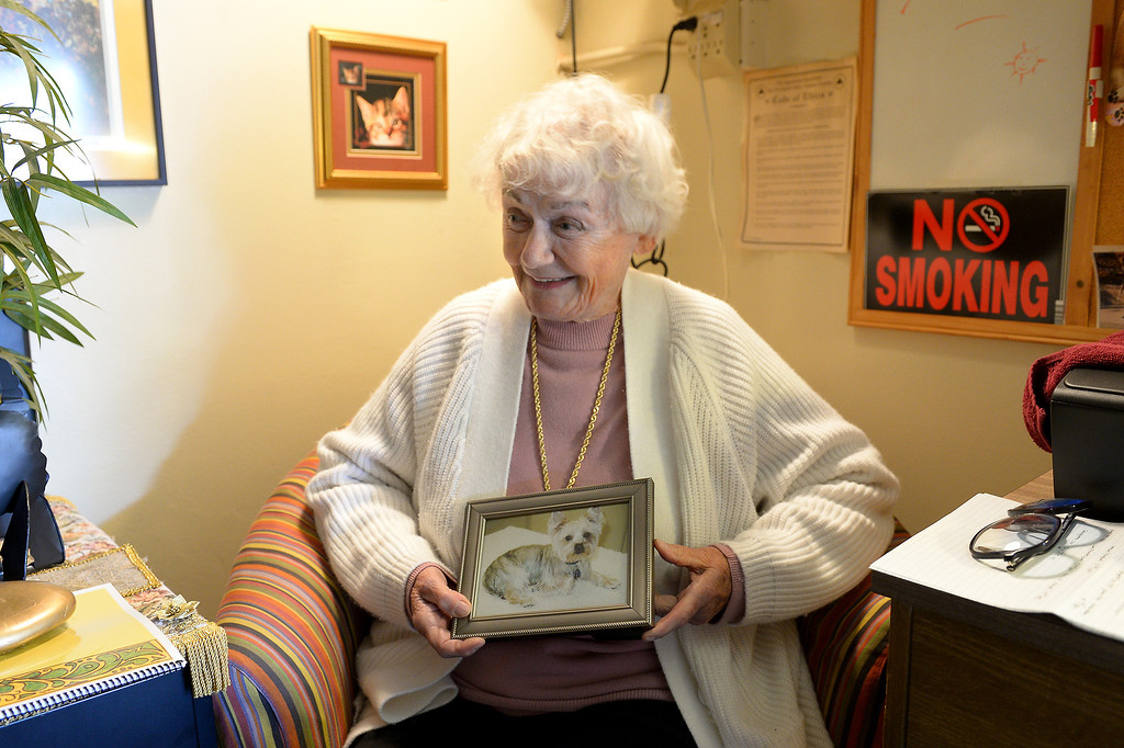". Judy Guth holds a picture of her dog ""I Love Sushi\"" in the office of her North Hollywood apartment complex that requires tenants to own pets, Wednesday, February 19, 2014. (Photo by Michael Owen Baker/L.A. Daily News)"