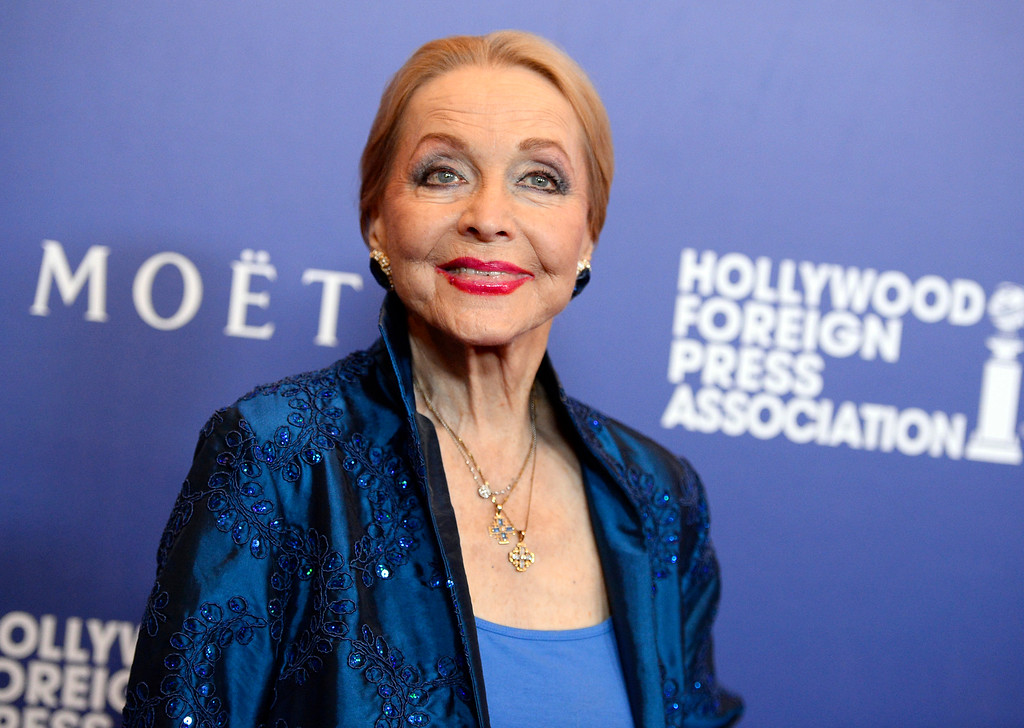 """. FILE - In this Aug. 14, 2014 file photo, Anne Jeffreys arrives at the Hollywood Foreign Press Association\'s Grants Banquet in Beverly Hills, Calif. Jeffreys, an actress and opera singer who starred as Marion Kerby in the 1950s TV series \""""Topper,\"""" died, Wednesday, Sept. 27, 2017, at age 94. (Photo by Jordan Strauss/Invision/AP, File)"""