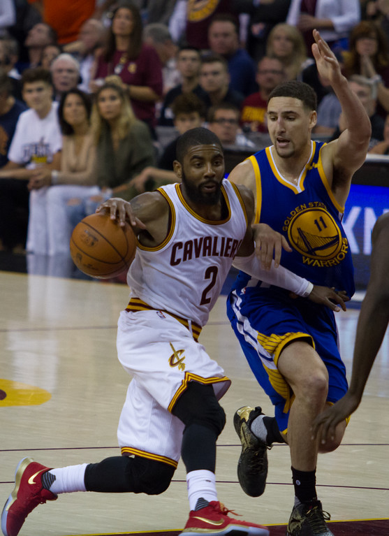 . Kyrie Irving (2) of the Cleveland Cavaliers drives on Klay Thompson (11) of the Golden State Warriors during game 4 of the NBA Finals against the Golden State Warriors at the Quicken Loans Arena on June 10, 2017.  The Cavs defeated the Warriors 137-116.