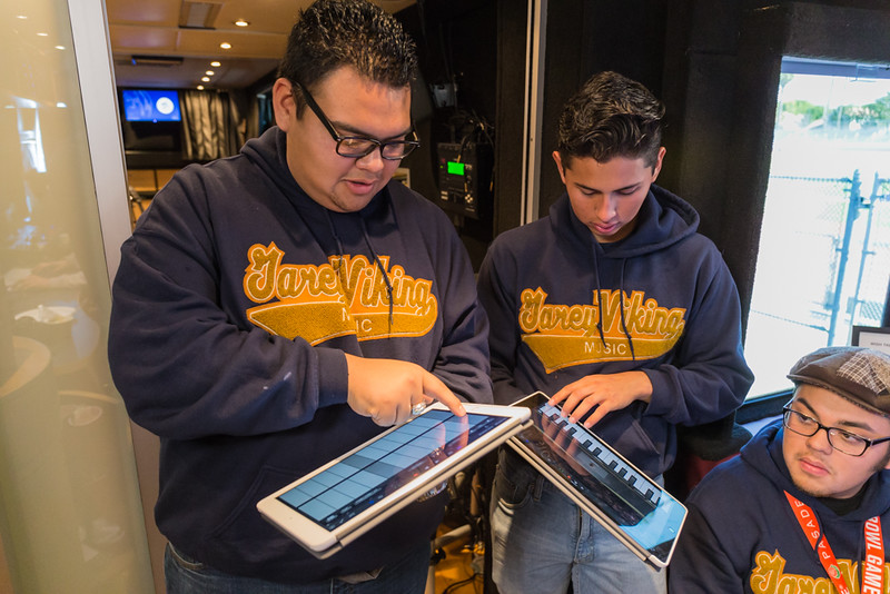 2016_01_26, Pomona, CA, Garey High School, students, iPad, interior, bus,