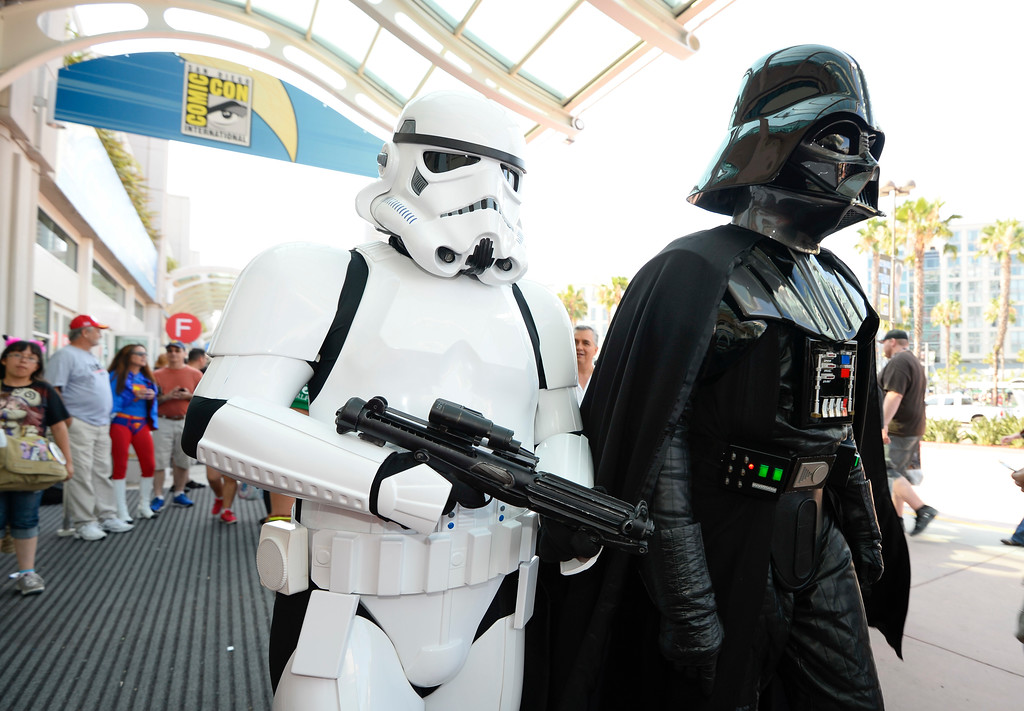 . Fans dressed as Star Wars characters walk in front of the convention center on day three of the Comic-Con International held at the San Diego Convention Center Saturday, July 23, 2016 in San Diego.  (Photo by Denis Poroy/Invision/AP)