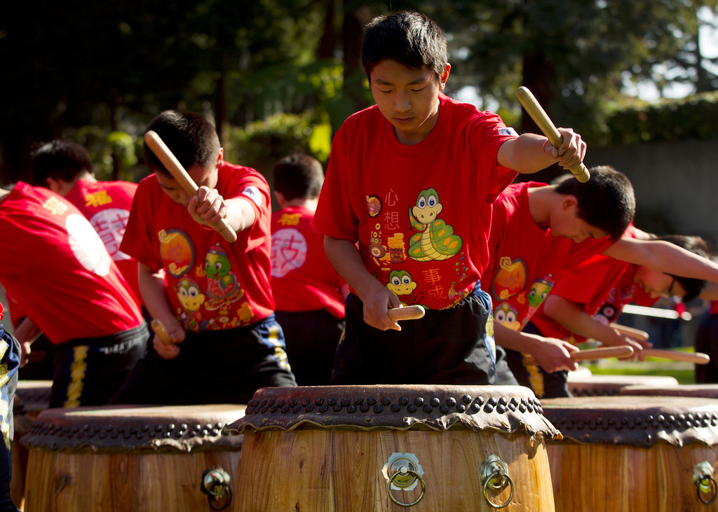 . Drummers from the Developing Virtue Secondary School of Ukiah, Calif. perform a Chinese 24 Seasons program, during the Oakland Museum of California\'s Lunar New Year celebration, Sunday, Feb. 17, 2013 in Oakland, Calif. (D. Ross Cameron/Staff)
