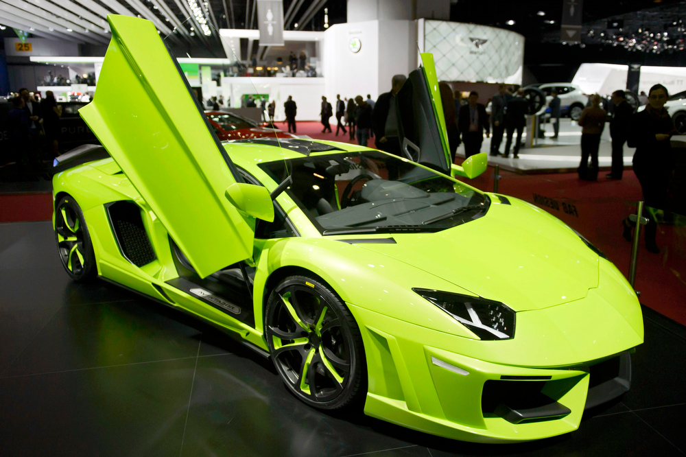 . The new Fab-Design Lamborghini Aventador Executive is shown during the press day at the 84th Geneva International Motor Show in Geneva, Switzerland, 04 March 2014. The Motor Show will open its gates to the public from 06 to 16 March presenting more than 250 exhibitors and more than 146 world and European premieres.  EPA/MARTIAL TREZZINI