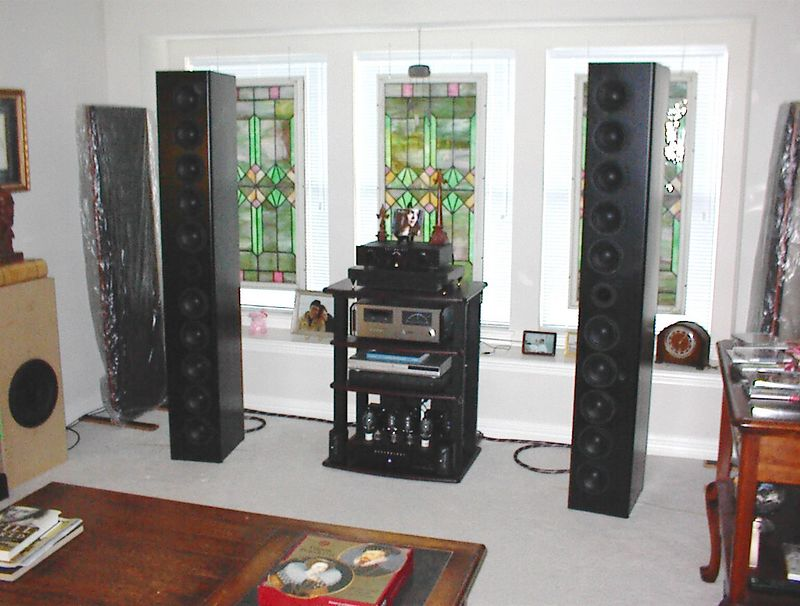 """The Fredarrays are 6' line arrays, each having ten 5.25"""" Silver Flute woofers and a single 1"""" MCM titanium dome tweeter. Two 4"""" ports on the back extend the response into the low 50's. Sensitivity is about 95dB and impedance is 9 ohms, making them a good match for the 300B set amp pictured."""