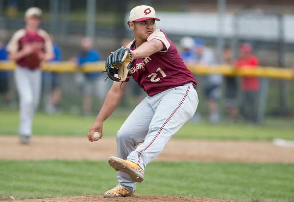 05/29/19 Wesley Bunnell | Staff New Britain and Southington baseball played to a 2-2 tie in the bottom of the 10th inning before the game was postponed due to rain. The game is scheduled to resume May 30th at 3:00pm. Starting pitcher Ruffino Santiago (21).