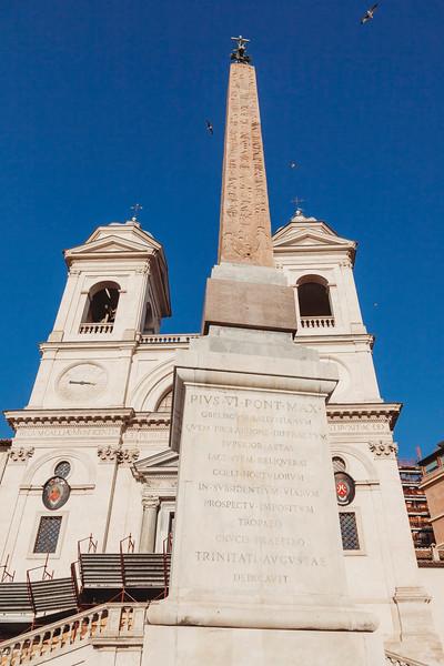 Obelisk in front of church in Rome