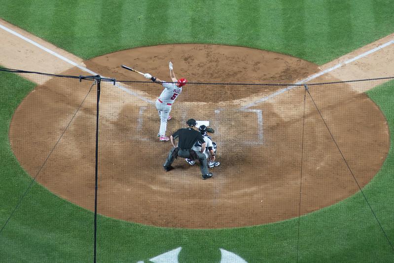 Albert Pujols (Los Angeles Angels) at bat -- Yankee Stadium, the Bronx, NYC