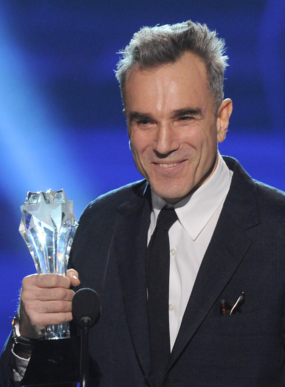 """. Actor Daniel Day-Lewis accepts the Best Actor Award for \""""Lincoln\"""" onstage at the 18th Annual Critics\' Choice Movie Awards held at Barker Hangar on January 10, 2013 in Santa Monica, California.  (Photo by Kevin Winter/Getty Images)"""