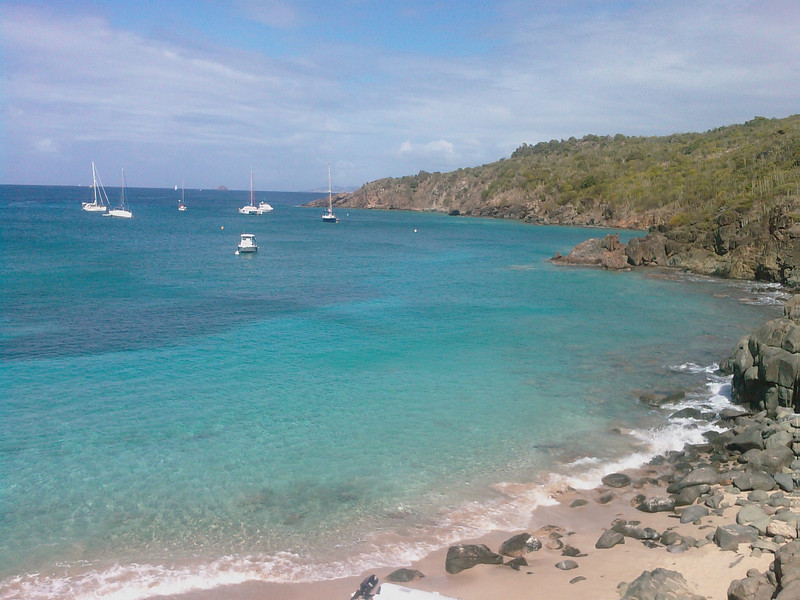 """St Barth 2008 - 17th day (part I)  For our last full day on the island, we have decided to go again to Colombier. We have taken the second way to go there. About the same time (30') but much more harder... Quite a lot of boats today in the Colombier Bay.  A very long snorkeling session with my son, we have visited the right end of the Bay. It was just fantastic! A giant aquarium.  For our last dinner in St Barth, some stuff from Le Bouchon that we have taken back in the villa.  Tomorrow, we have to give back the car and the villa before 12:00. Flight to St Martin at 14:30. St Martin to Paris at 17:00. We should be in Paris at 06:00 (on Tuesday, with the time shift) and in Mulhouse for the lunch.  Long trip, bad mood. No comment, I know how far we are lucky to be there, a fact which is not really helping to come back from this """"paradise""""..."""