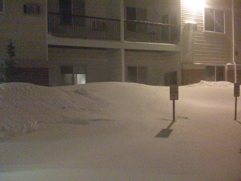 Drift in front of first floor apartments