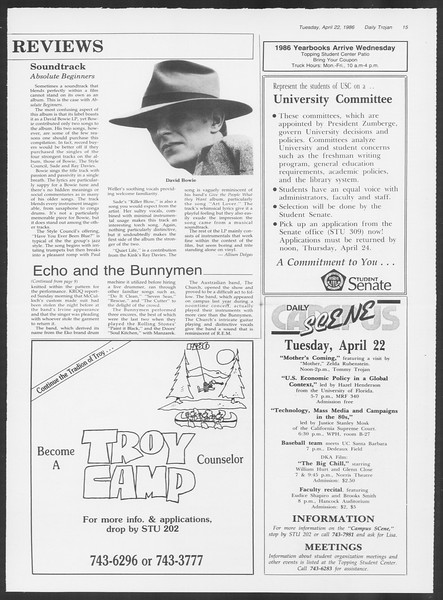 Daily Trojan, Vol. 100, No. 65, April 22, 1986
