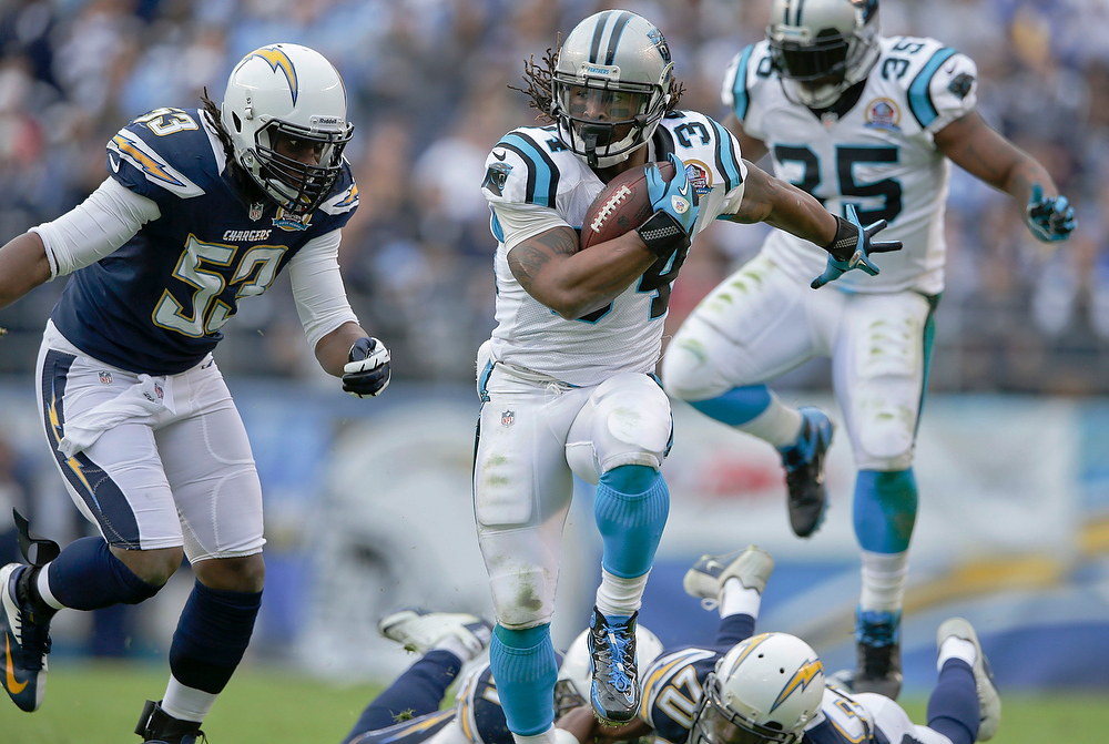 Description of . Carolina Panthers running back DeAngelo Williams breaks tackles on his way to a 45 yard touchdown reception against the San Diego Chargers during the first half of an NFL football game Sunday, Dec. 16, 2012, in San Diego. (AP Photo/Gregory Bull)