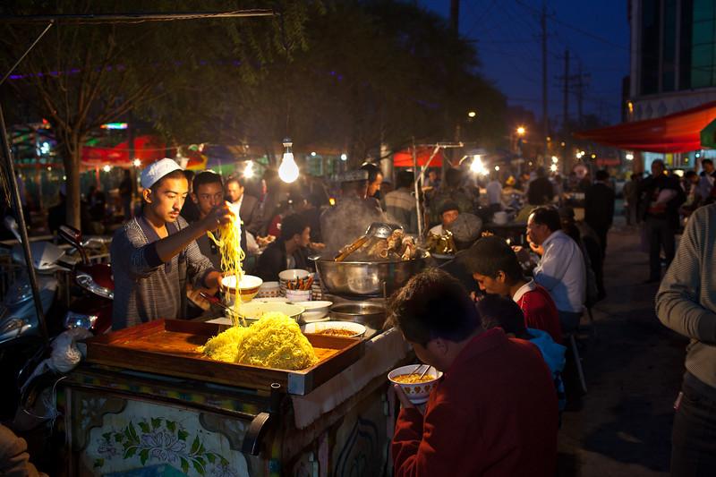 Food section of Night Bazaar in Kashgar, Xinjiang, China.