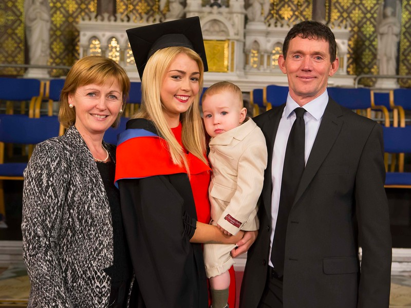 Waterford Institute Of Technology Conferring. Pictured at WIT Waterford Institute Of Technology Conferring is Linda English, Waterford who graduated Higher Certificate in Science in Pharmaceutical Science with her son Kayden, parents Mary and John. Picture: Patrick Browne