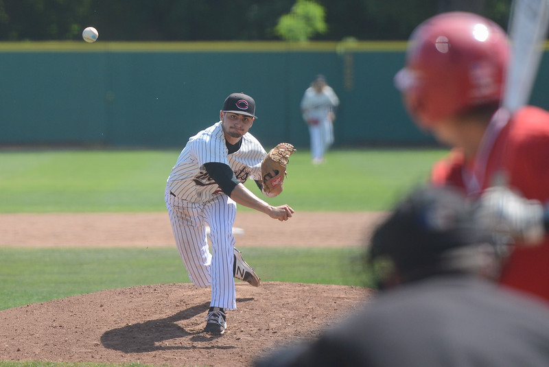 Chico State's Hilario Tovar pitches the ball, May 4, 2018,  in Chico, California. (Carin Dorghalli -- Enterprise-Record)
