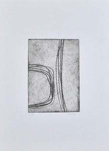"""Curved Lines #3 by Riley, (10/35) etching on 15""""x11"""" paper"""