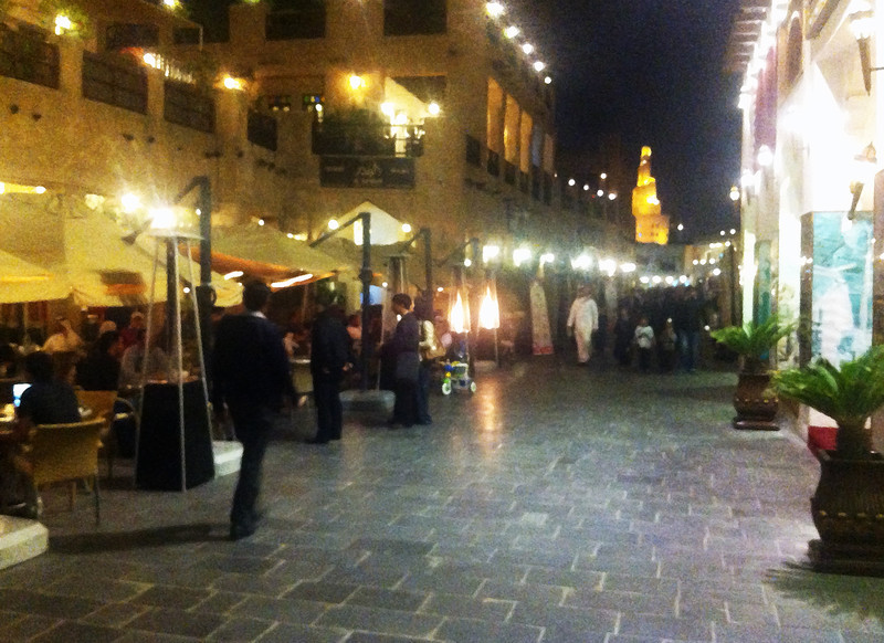 Telephone photo of a street scene in the Doha Souk
