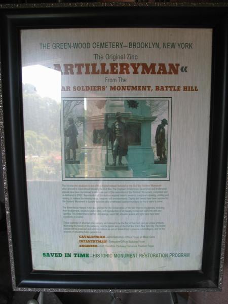 The Original Zinc Artilleryman from Civil War Soldier's Monument, Battle Hill