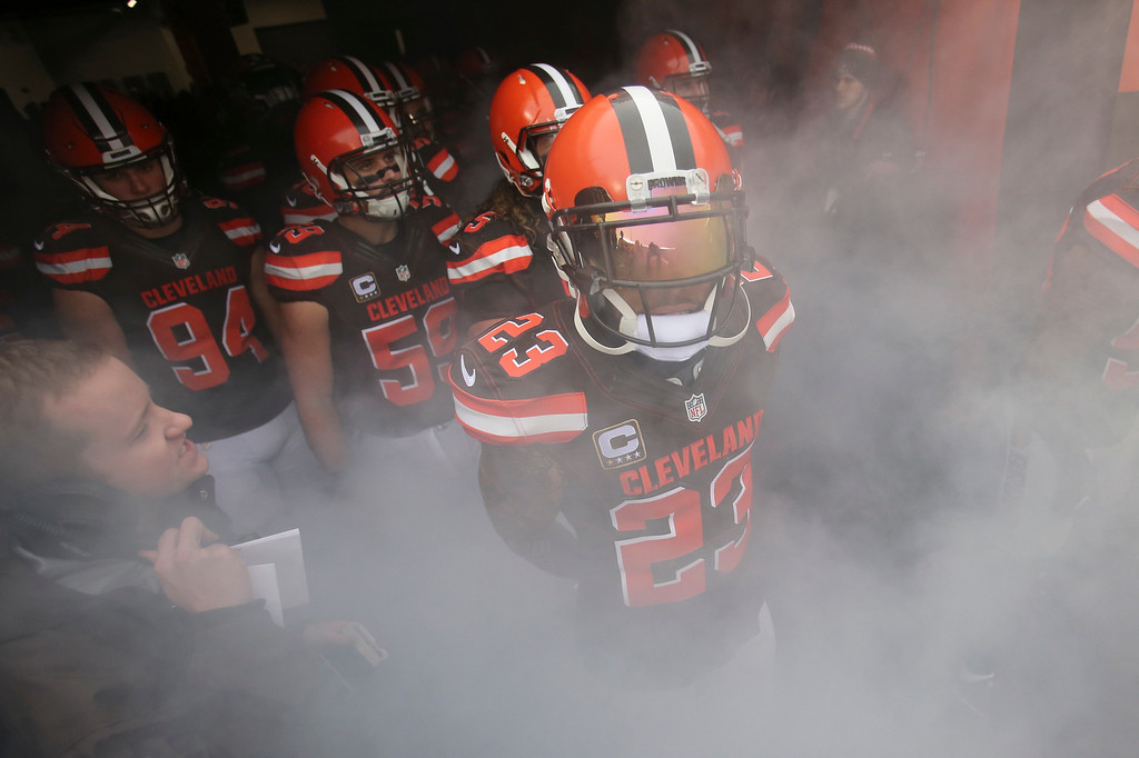 . Cleveland Browns cornerback Joe Haden (23) waits for his introduction before an NFL football game against the San Diego Chargers, Saturday, Dec. 24, 2016, in Cleveland. (AP Photo/Aaron Josefczyk)