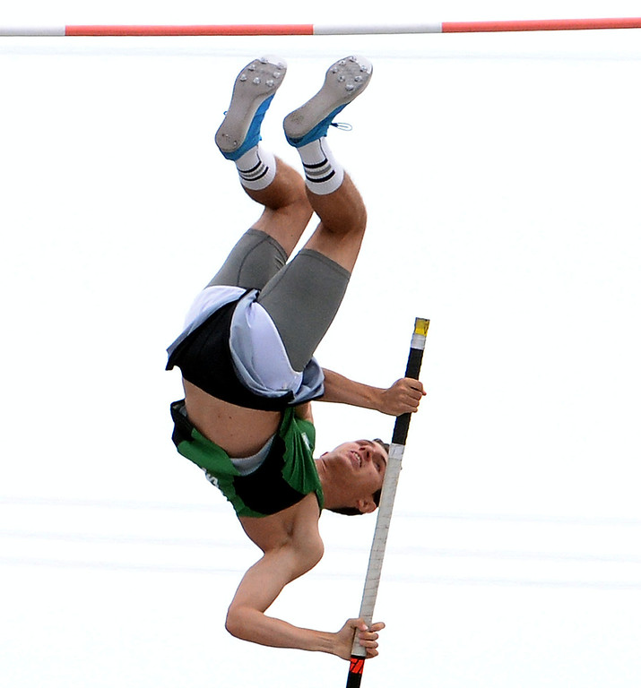 . Thousand Oak\'s Luigi Colella jumps at 17-00.75 and wins the division 2 pole vault  during the CIF Southern Section track and final Championships at Cerritos College in Norwalk, Calif., on Saturday, May 24, 2014.   (Keith Birmingham/Pasadena Star-News)