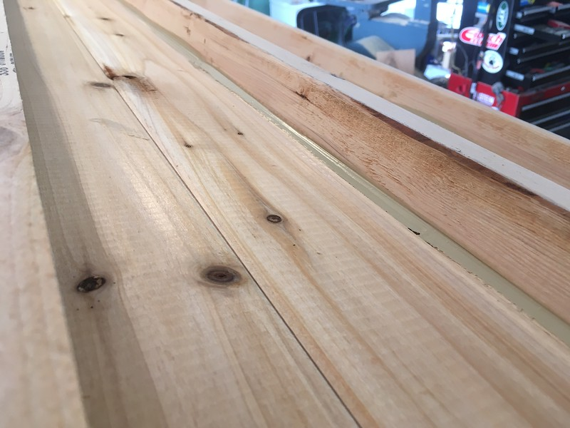 "Using 1/4"" cedar v-match for interior ceiling.  This is viewed from outside"