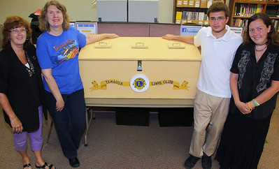 Young Man Makes Donation Box for Lions, LEO Club, Library, Tamaqua (6-25-2012)
