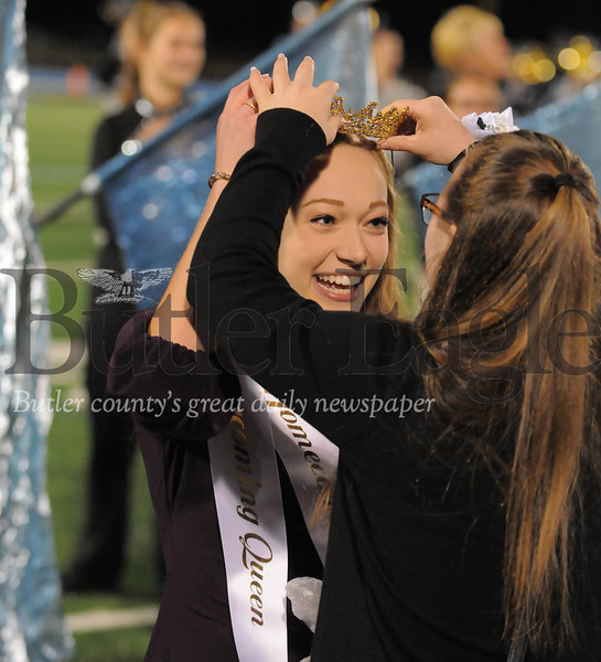 Seneca Valley Homecoming Queen Amanda Prista is crowned before a game at Next Tier Stdium on Friday October 12, 2018 (Jason Swanson photo)