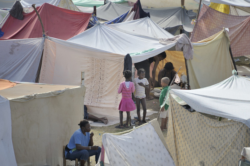 Survivors of the January 12 earthquake in Haiti crowd together in displaced settlements in empty fields and parks throughout Port-au-Prince. While aid is beginning to flow into the ravaged Caribbean nation, the future of these families remains unclear. Photo by Paul Jeffrey/ACT.