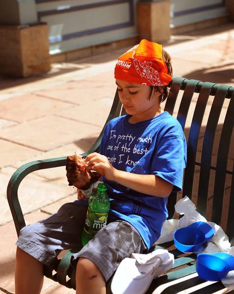Denver Chalk Arts Festival  Another turkey leg connoisseur!