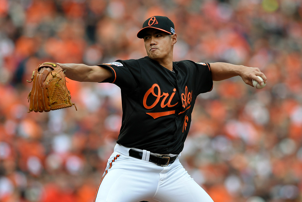 . Baltimore Orioles starting pitcher Wei-Yin Chen, of Taiwan, throws to the Detroit Tigers in the first inning of Game 2 in baseball\'s AL Division Series in Baltimore, Friday, Oct. 3, 2014. (AP Photo/Nick Wass)