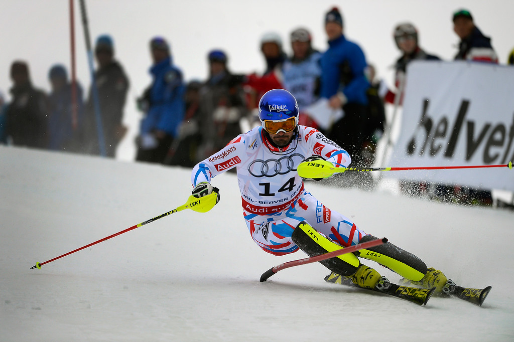 . BEAVER CREEK, CO - FEBRUARY 15: Jean-Baptiste Grange of France competes in the first run of the Men\'s slalom during the FIS  Alpine World Ski Championships in Beaver Creek, CO. February 15, 2015. (Photo By Helen H. Richardson/The Denver Post)