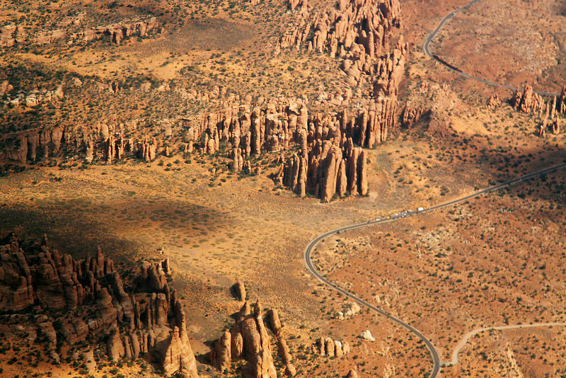 The entrance to Arches National Park near Moab, Utah, viewed from the sky.