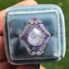 2.27ct (est) Art Deco Old European Cut Diamond with Amethyst Halo Ring 19