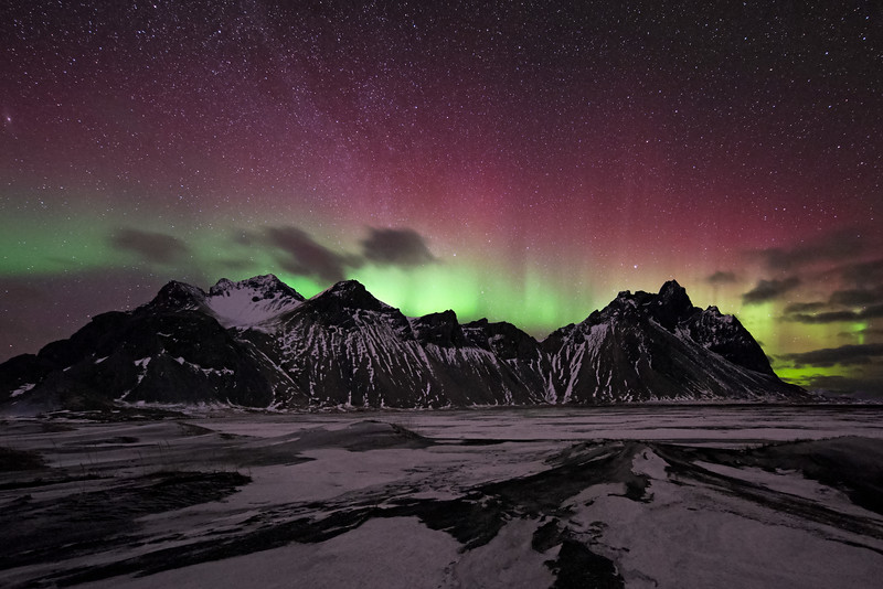 Northern Lights Over Vestrahorn