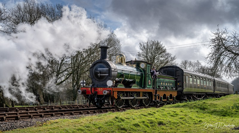 SER Stirling 0-6-0 No.65 approaches Kingscote Station