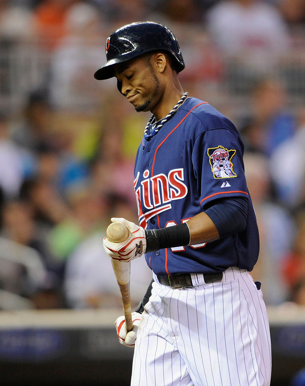 . Pedro Florimon #25 of the Minnesota Twins reacts to striking out against the Kansas City Royals during the third inning. (Photo by Hannah Foslien/Getty Images)