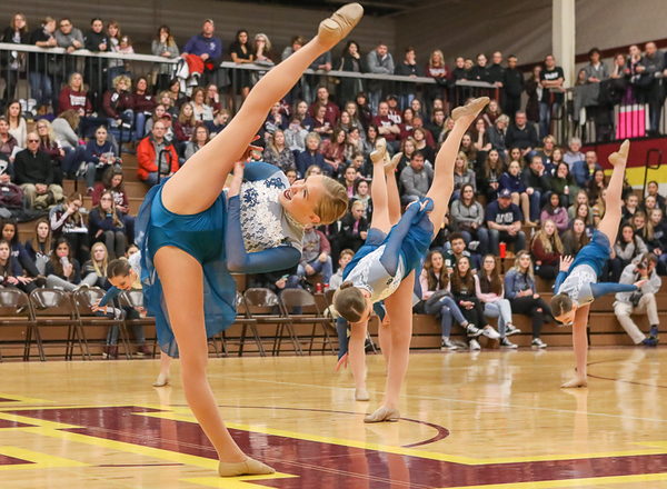 The Blaine Dance Team performs their Jazz dance at the Section 4AAA Tournament on Feb. 3, 2018 at Forest Lake High School.  Photo Credit: Matt Blewett