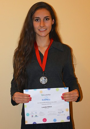 """Sophomore Laura Krug received the Gold Medal for her project titled """"Does Google Glass Affect Visual Perception?"""" 2014"""