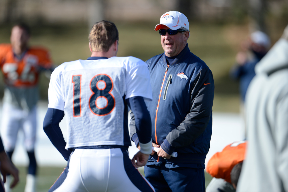 . Denver Broncos head coach John Fox talks with Denver Broncos quarterback Peyton Manning (18) during practice Wednesday, December 12,  2012 at Dove Valley.  John Leyba, The Denver Post
