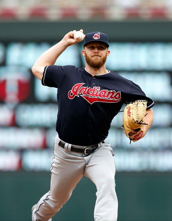 . Cleveland Indians relief pitcher Cody Allen throws against the Minnesota Twins in the the first game of a baseball doubleheader Thursday, Aug. 17, 2017, in Minneapolis. The Indians won 9-3. (AP Photo/Jim Mone)
