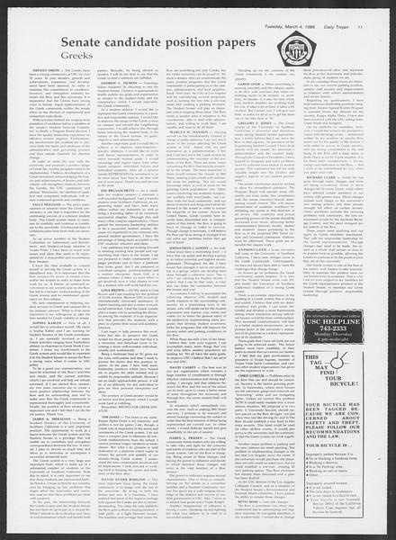 Daily Trojan, Vol. 100, No. 36, March 04, 1986