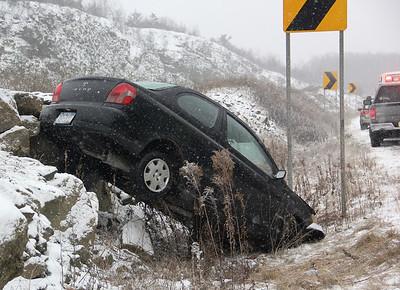 Car Flips into Median, Mile Marker 138, near McAdoo exit, Interstate 81, I81 (11-26-2013)