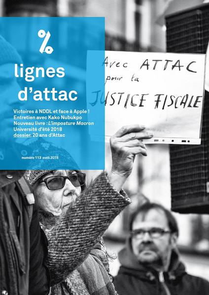 Lignes d'Attac, n°113, avril 2018.  https://france.attac.org/nos-publications/lignes-d-attac/article/lignes-d-attac-no-113