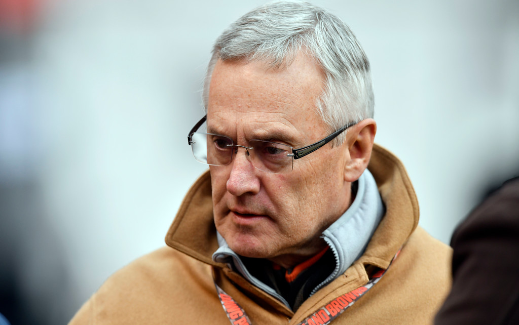 . Jim Tressel, president of Youngstown State University, is shown before an NFL football game between the Green Bay Packers and the Cleveland Browns, Sunday, Dec. 10, 2017, in Cleveland. (AP Photo/David Richard)