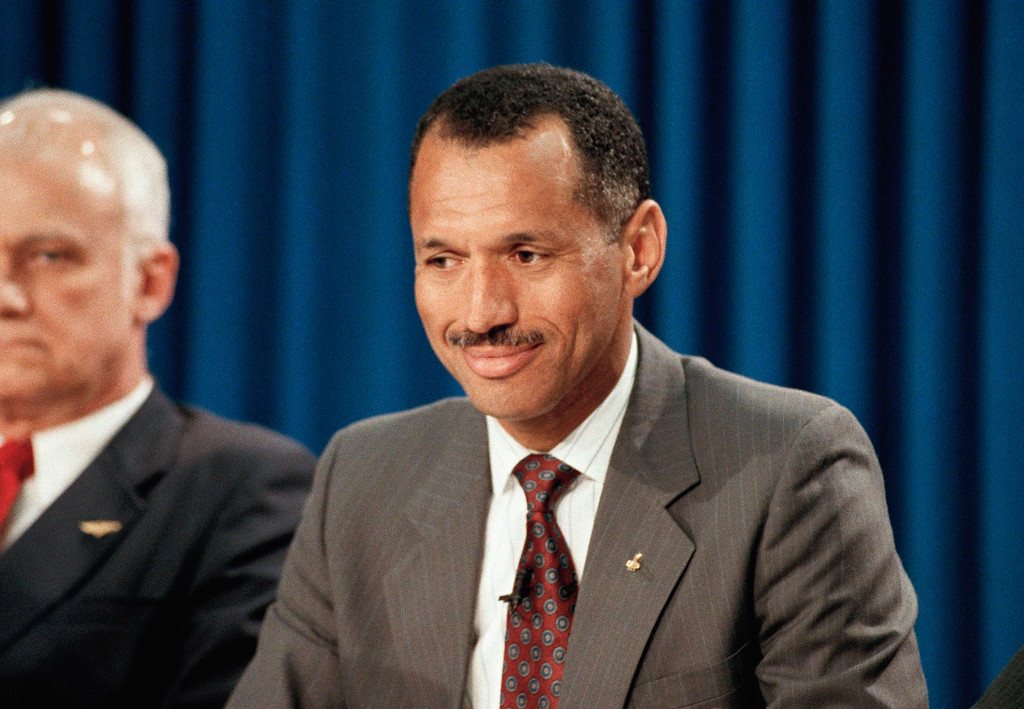 . Discovery pilot Charles Bolden, of the Hubble Space telescope flight, is shown on March 22, 1990. (AP Photo/Ed Kolenovsky)