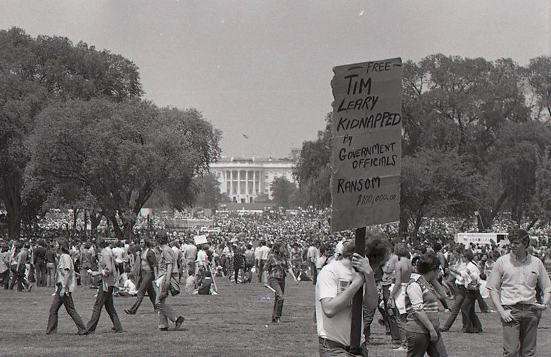 "Tim Leary of course taught us to ""turn on, tune in, and drop out."" Many years later he dropped dead. Anti-war demonstration, Washington DC, May 9, 1970."