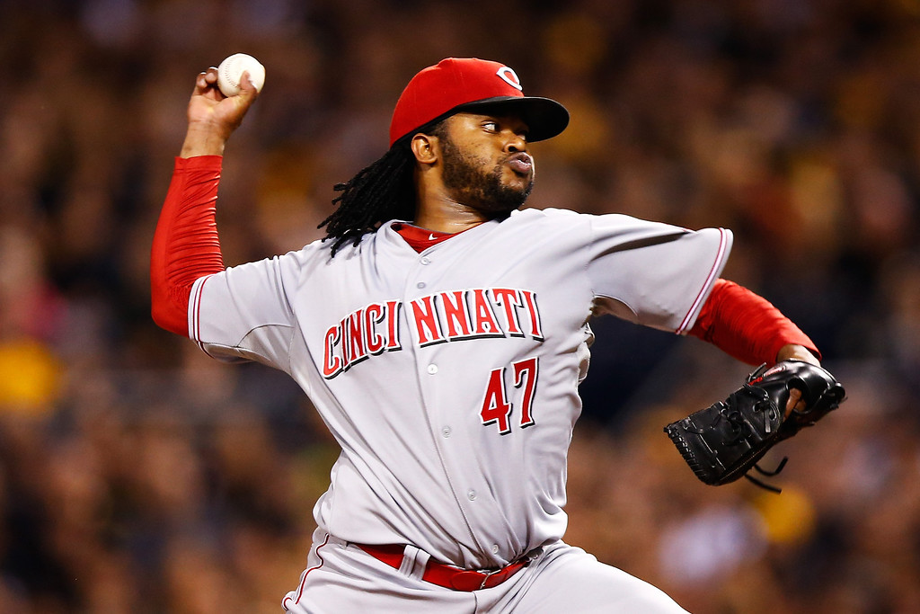 . PITTSBURGH, PA - OCTOBER 01:  Johnny Cueto #47 of the Cincinnati Reds pitches in the first inning against the Pittsburgh Pirates during the National League Wild Card game at PNC Park on October 1, 2013 in Pittsburgh, Pennsylvania.  (Photo by Jared Wickerham/Getty Images)