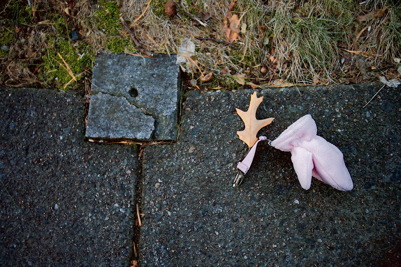 """Waban Sidewalk Capturing my village, Waban has always been beyond me.  It has a beauty, but a very ordinary kind of beauty.  So today, I thought I'd try to capture a little of it.  Walked into Waban at 5:15 pm.  Pictures of the churches, the T, children in """"after care"""".  Pretty boring.  I found this lost mitten on the sidewalk and it was the best thing I got.  6 March 2006"""